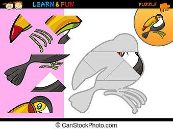 jeu, toucan, puzzle, dessin animé