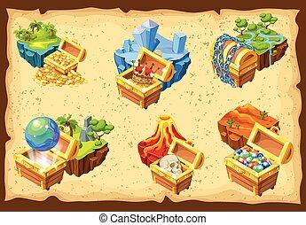 jeu, trésors, ensemble, caché, îles