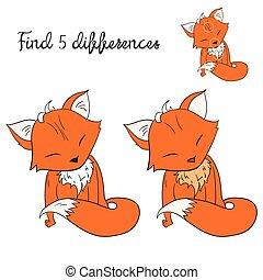 jeu, trouver, différences, disposition, renard, gosses