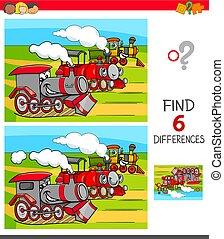 jeu, trouver, locomotives, différences