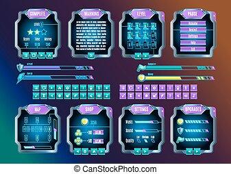 jeu, ui, espace, graphique, interface utilisateur, set., vecteur