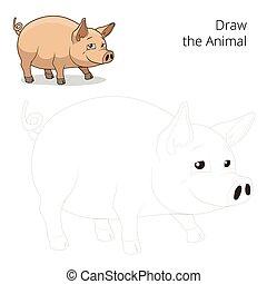 jeu, vecteur, cochon, animal, dessiner, pédagogique