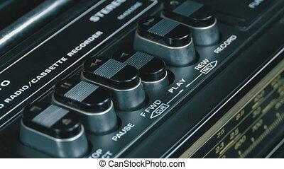 jeu, vendange, poussée bouton, magnétophone