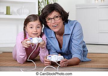 jeu vidéo, fille, jouer, mère