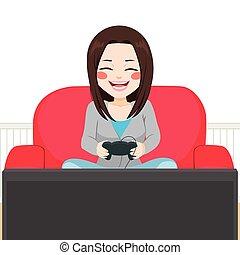 jeu, vidéo, girl, jouer