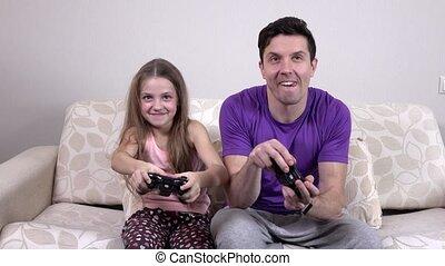 jeu vidéo, père, jouer, enfant