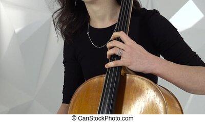 jeu, violons, filles, deux, jouer, studio, violoncelle,...