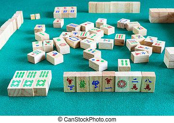 jeu, vue, côté, mahjong, gameboard