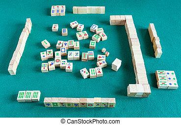 jeu, vue, mahjong, au-dessus, gameboard