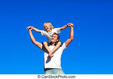 jeugd, father\'s, schouders, zijn, zittende