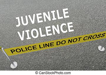 jeugdig, violence, concept