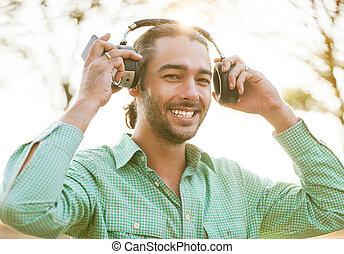 jeune, écoute, homme, musique, hipster