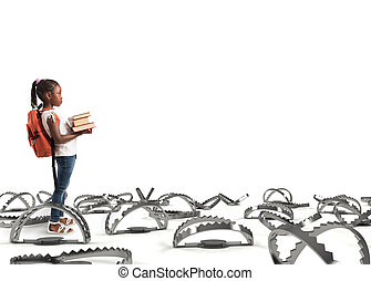 jeune, étudiant, marche, par, les, pièges