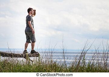 jeune adulte, dans, nature, regarder, les, vue