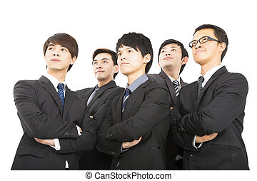 jeune, affaires asiatiques, équipe, debout, ensemble