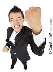 jeune, affaires asiatiques, homme, à, poing