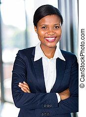 jeune, africaine, femme affaires, portrait
