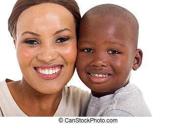 jeune, africaine, mère fils