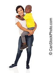 jeune, africaine, mère, tenue, elle, fils