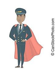 jeune, african-american, pilote, habillé, comme, superhero.