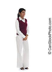 jeune, agréable, indien, femme, plein portrait longueur, blanc