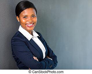 jeune, américain africain, femme affaires