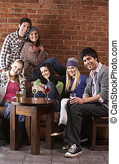 jeune, amis, dans, caf