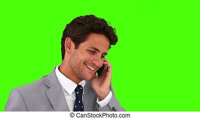 jeune, appel téléphonique, complet, homme affaires, avoir