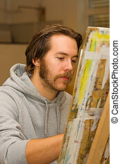 jeune, artiste, dessin