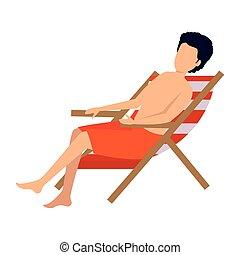jeune, assis, maillot de bain, chaise, plage, homme