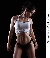 jeune, athlétique, femme, fitness, gymnase