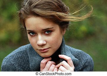 jeune, automne, femme, parc