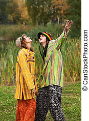 jeune, automne, parc, rastafarian, gens