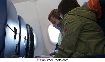 jeune, avion, couple