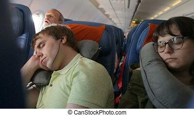 jeune, avion, couple, dormir