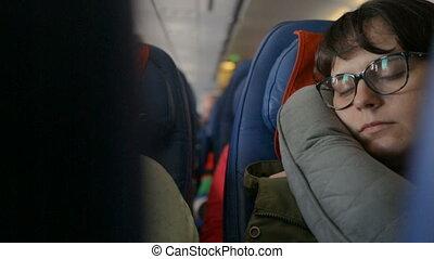 jeune, avion, femme, dormir