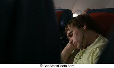 jeune, avion, sommeil homme