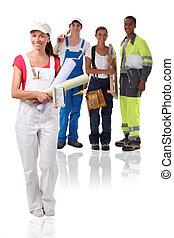 jeune, bâtiment, ouvriers, isolé, blanc, fond