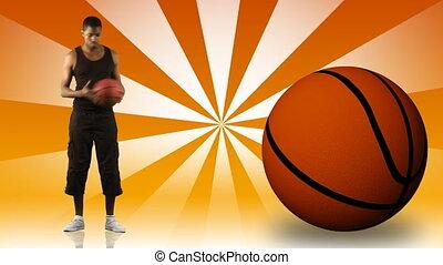 jeune, basket-ball, jouer, ethnique, homme