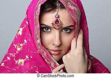 jeune, belle femme, dans, sari
