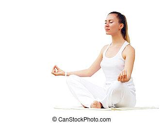 jeune, belles femmes, dans, blanc, relaxation, sur, les,...