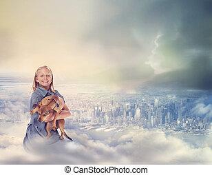 jeune, blond, girl, à, elle, chien, sur, nuages