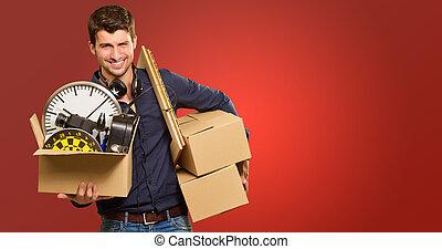 jeune, boîtes, tenue, carton, faire gestes, homme