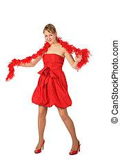 jeune, boa, blond, robe, girl, rouges