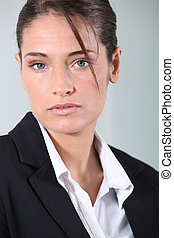 jeune, brunette, femme affaires