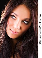 jeune, brunette, portrait femme