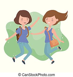jeune, célébrer, sauter, caractères, femmes heureuses