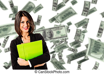 jeune cadre, femme, gagner, argent