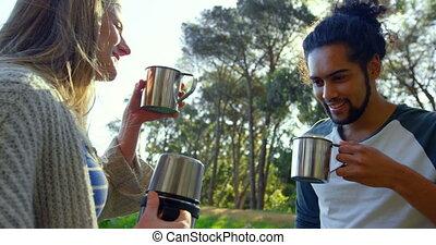 jeune, café, forêt, 4k, couple, avoir