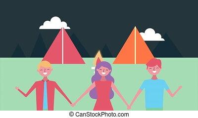 jeune, caractères, groupe, camping, amis